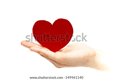 hand with a heart on a white background