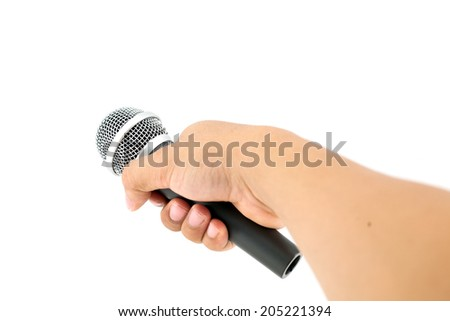 hand with a microphone isolated on white - stock photo