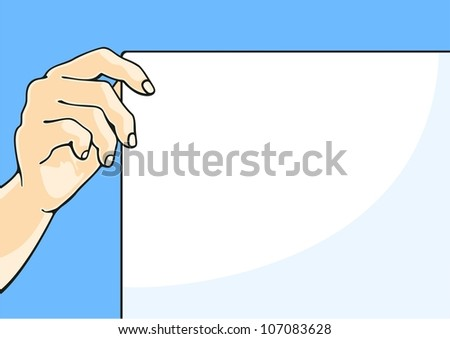 Hand with a paper sheet (raster version) - stock photo