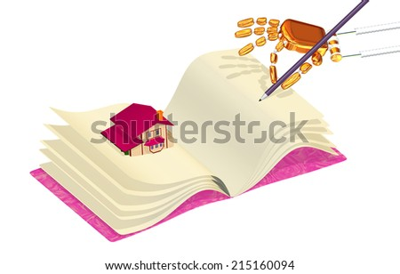 Hand with a pencil and the book with the house - stock photo