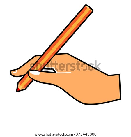 Hand with a pencil.  illustration of a hand writing.  hand with a pen wrote  on a horizontal surface isolated on white - stock photo