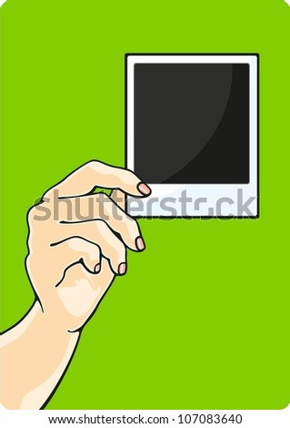 Hand with a photo (raster version) - stock photo
