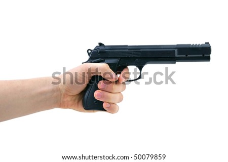Hand with a pistol on the isolated white background
