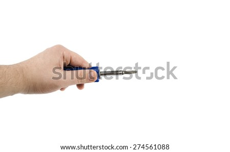 hand with a screwdriver - stock photo