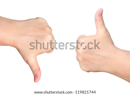 Hand with a thumb up and hand with a thumb down isolated on white background  -  success and rejection symbols - stock photo