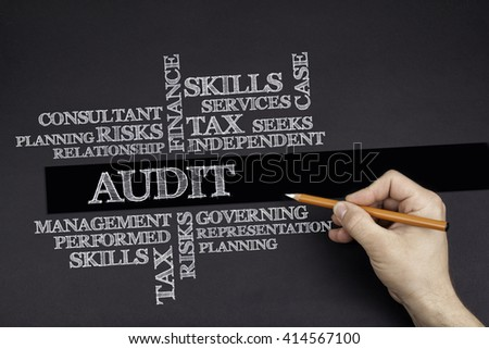Hand with a white pencil writing: AUDIT word cloud