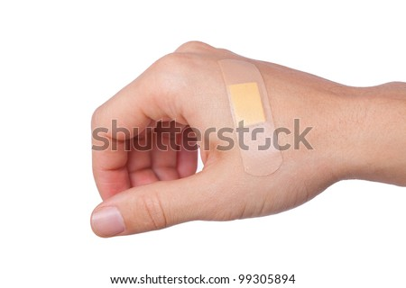 hand with adhesive bandage. band-aid on a cut. isolated on white - stock photo