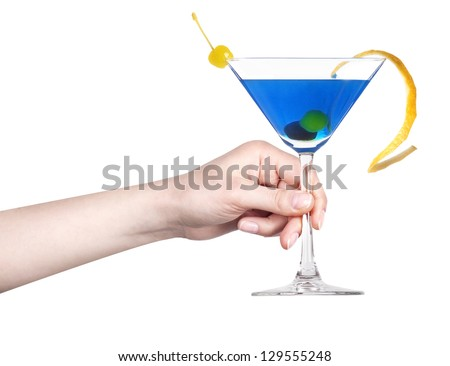 hand with alcohol cocktail making toast isolated on a white background - stock photo