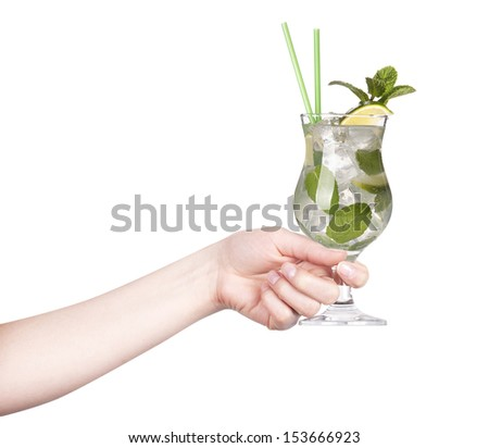 hand with alcohol cocktail making toast isolated on a white background