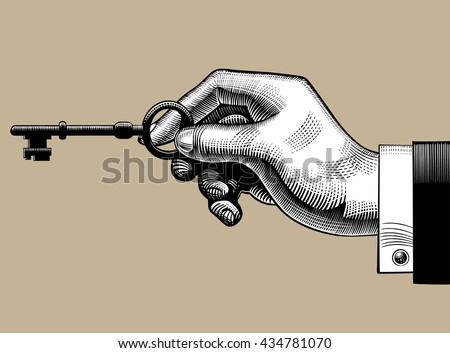 Hand with an old key. Retro style unlock sign and icon. Vintage engraving stylized drawing - stock photo