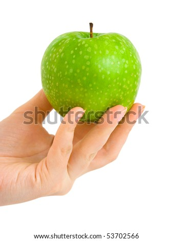 Hand with apple isolated on white background - stock photo