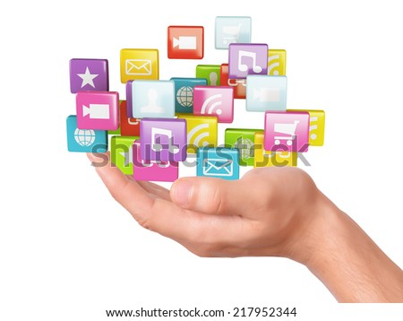 hand with application software icons.  - stock photo