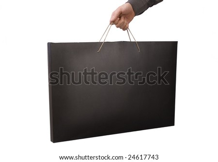 Hand with  bag, isolated on white background - stock photo