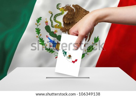 Hand with ballot and box on Flag of Mexico - stock photo