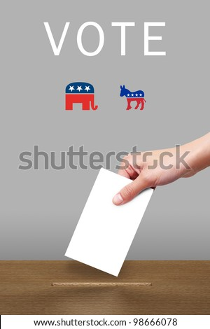 Hand with ballot and wooden box with logo party icon - stock photo