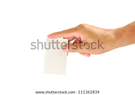 Hand with ballot card isolated on white background
