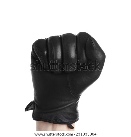 Hand with black glove leather doing zero sign isolated on white background - stock photo