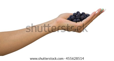 Hand with blackberries isolated on white background