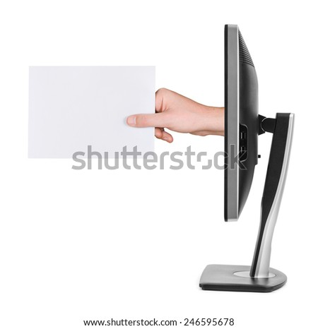 Hand with blank card and computer monitor isolated on white background - stock photo