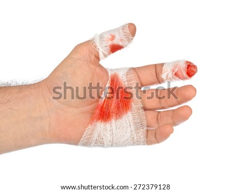 Hand with blood and bandage isolated on white background - stock photo