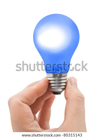 Hand with blue bulb isolated on white background