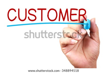 Hand with blue mark is writing Customer on transparent whiteboard. - stock photo