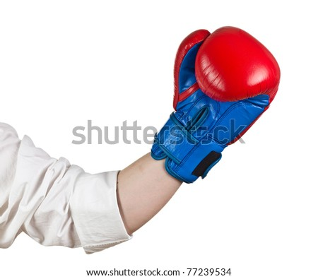 Hand with Boxing Gloces on white