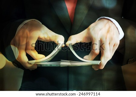 Hand with cards - stock photo