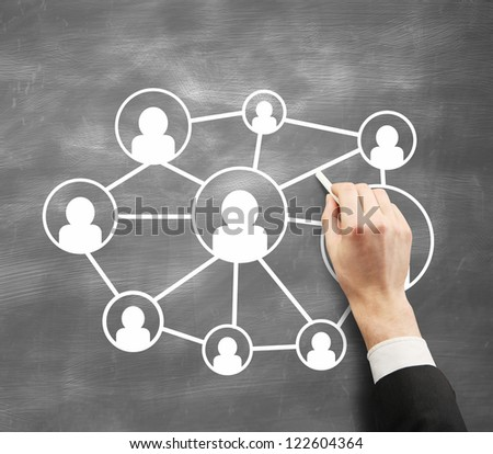 hand with chalk drawing concept social network people - stock photo