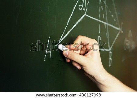 hand with chalk drawing geometric shapes