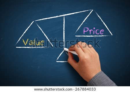 Hand with chalk is drawing Value and price balance scale on the chalkboard.
