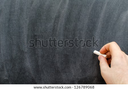 Hand with chalk writting on blackboard