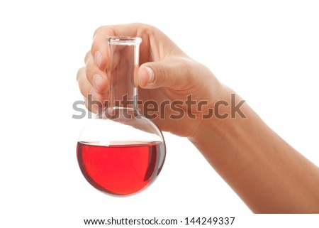 hand with chemical bottle isolated on white background