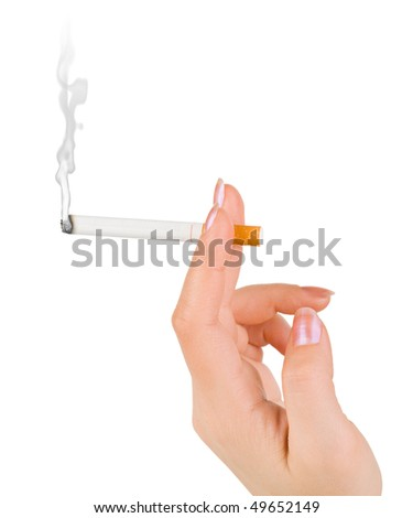 Hand with cigarette isolated on white background - stock photo