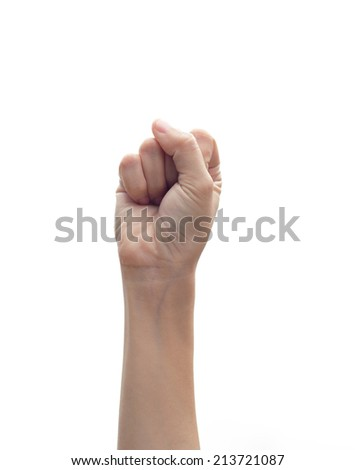 Hand with clenched a fist isolated on white background.