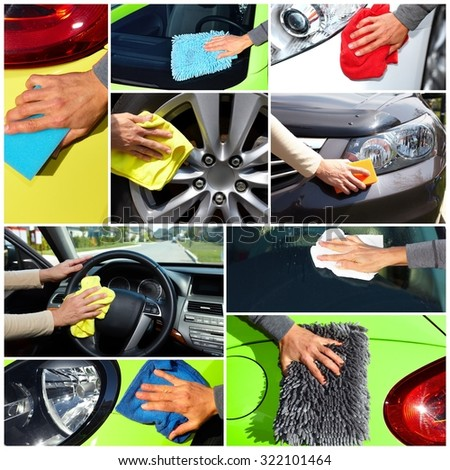 Hand with cloth washing a car. Waxing and polishing collage. - stock photo