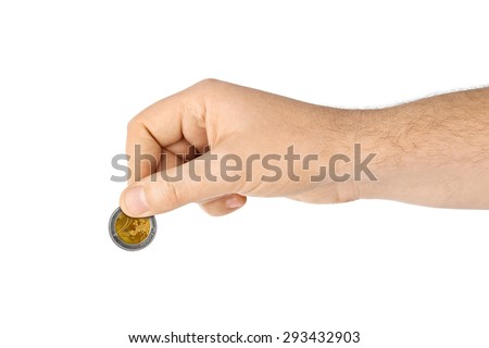 Hand with coin isolated on white background