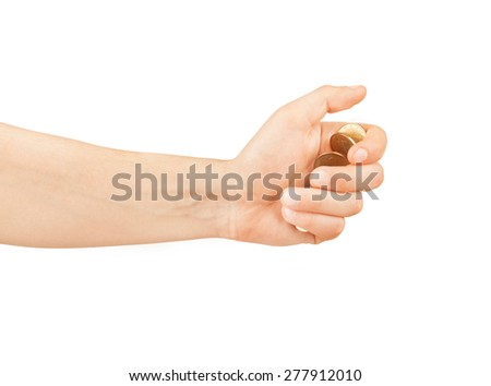 hand with coins isolated on white