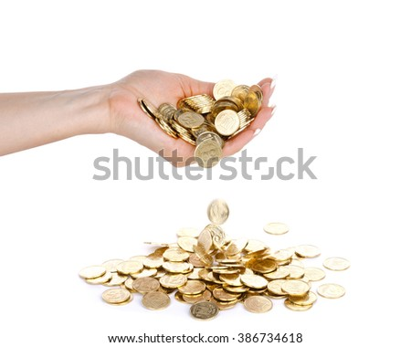 Hand with coins isolated on white background.