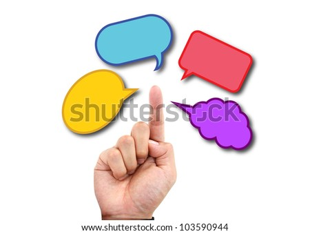 hand with colorful quote box - stock photo