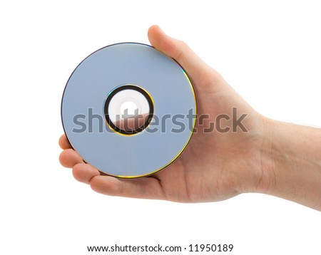 Hand with compact disk, isolated on white background - stock photo
