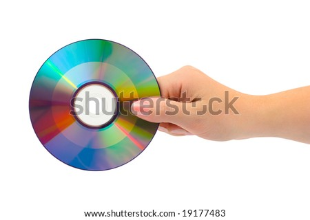 Hand with computer disk isolated on white background - stock photo