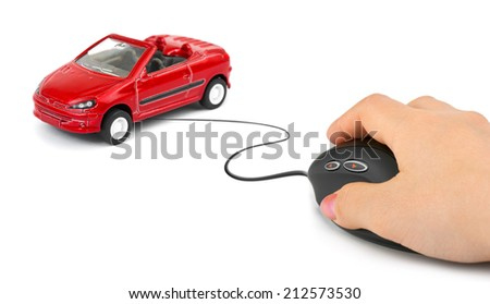Hand with computer mouse and car isolated on white background - stock photo