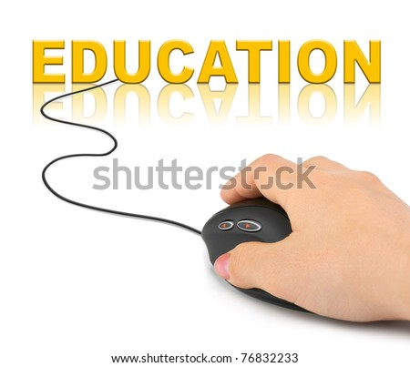 Hand with computer mouse and word Education - technology concept - stock photo