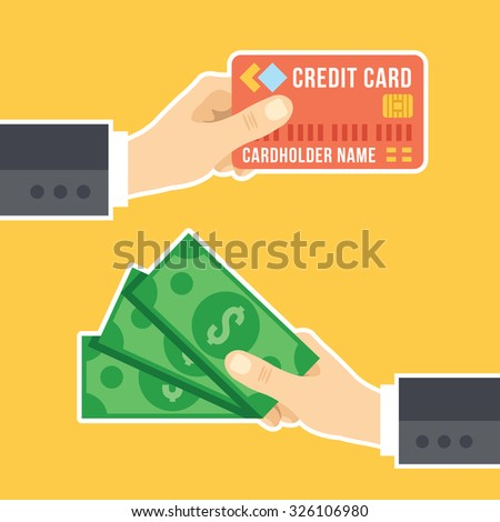 Hand with credit card and hand with cash. Payment methods, cash-out, smart investment, business, cash withdrawal, business, online payment concepts. Flat design. Creative flat illustration