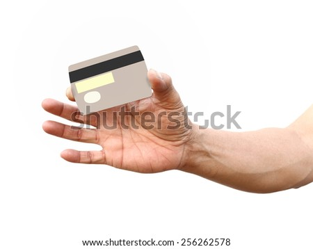 hand with credit card isolated on white with path - stock photo