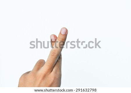 Hand with crossed fingers,  symbol fingers crossed human hand on white