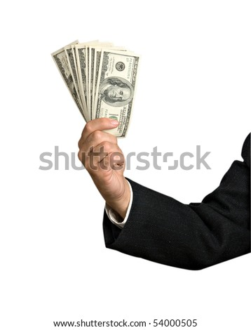 Hand with dollar bills isolated on background