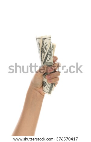 Hand with dollars isolated on white background