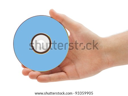 Hand with dvd isolated on white background - stock photo